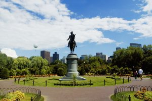 Low angle view of a statue in a garden, George Washington statue, Boston Public Garden, Boston, Massachusetts, USA